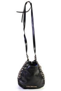 Juicy Couture Womens Adjustable Strap Studded Logo Shoulder Handbag Black