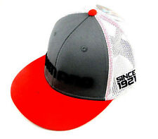 SHIMANO LOGO FLATBILL PROFLEX Q3 FITTED HAT RED GRAY / WHT MESH MENS SIZE MED/LG