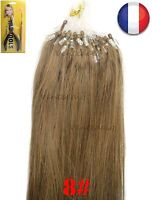 50-200 EXTENSIONS DE CHEVEUX POSE A FROID EASY LOOP NATURELS 53-60CM CHATAIN 8#