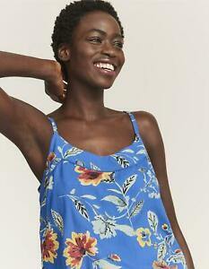 Fat Face Blue floral Viscose Cami Top Adjustable Straps