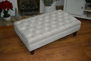 Chesterfield Deep Button Large Footstool in Casino  Ivory Fabric