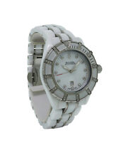 Bulova Accutron 65R137 Women's Analog Diamond Mother of Pearl Date Ceramic Watch