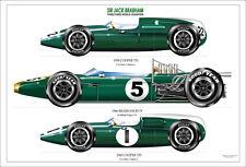 Jack Brabham ltd.ed.signed art print- 3  x championship cars 1959,1960,1966