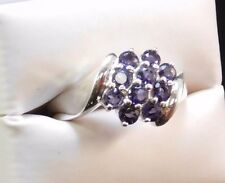 Amethyst 10 round cut cluster CNA Thailand 925 Silver Ring Size 9  S35