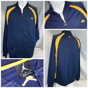 Nike Air Jordan Jumpman Retro Jacket L Men Navy Blue Zip Yellow YGI G0-31