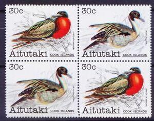 Aitutaki Cook Islands 1981 MNH 2vx2 Corner Blk, Birds, Ducks, Pintail