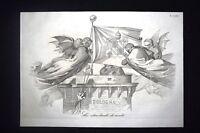Incisione d'allegoria e satira Romagna dominio Pio IX,Bologna Don Pirlone 1851