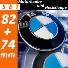 2x  FÜR BMW Emblem 82+74mm 2 Pin  Vorne & Hinten Motorhaube Kofferraum