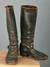 Vtg Women's 40s 50s Engineer / Motorcycle Leather Boots Sz 9 (?) 1940s 1950s