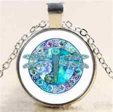 Cool Celtic Dragonfly Cabochon Glass Tibet Silver Chain Pendant Necklace#A67