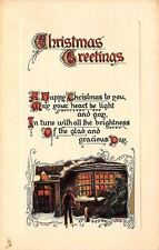 Christmas Calligraphy~Boy Outside Candle Lit Window~Gold Red Emboss~1912 TUCK