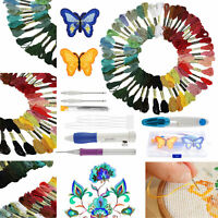 Magic DIY Embroidery Pen Knitting Sewing Tool Kit Punch Needle + 50 Threads Set