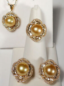 golden South Sea pearl set(ring,earrings&pendant),diamonds,solid 18k yellow gold