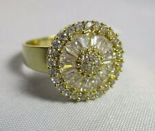 Ring Size 7 Brilliant Cubic Zirconia CZ Cluster Baguettes Wide Band Gold NWT T2