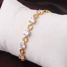 HUCHE 24k Yellow Gold Filled Round Clear Sapphire Diamond Bracelet Bangle Chain