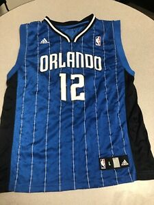 Classic Adidas Dwight Howard Orlando Magic Blue Pinstripe Jersey Youth Size L