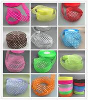 DIY 10-100Yards 25mm dot Satin Edge Sheer Organza Ribbon Bow Craft Wedding