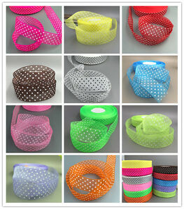 10 Yards 25mm dot Satin Edge Sheer Organza Ribbon Bow Craft Wedding DIY
