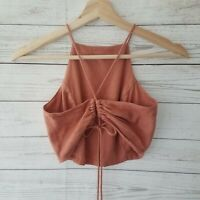 Free People Anthropologie SMALL Linen Neutral Blush Halter Crop Top Tie Back