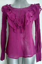 WAREHOUSE 100% silk and lace blouse size 8 long sleeve