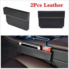 2Pcs Car Auto Seat Gap Slit Leather Storage Box Catcher Holder Pocket Organizer