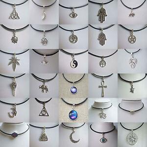 Black Real Leather Cord Choker Necklace Charm Pendant Retro Hippy Tibetan Silver