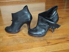 ALDO WOMEN'S BLACK LEATHER SLIP ON ANKLE PUMPS BOOTS WITH BOW DETAIL SIZE 9/40 M