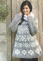 KNITTING PATTERN Ladies Fair Isle Snowflake Jumper Christmas Chunky Sweater Lang