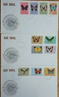 PAPUA NEW GUINEA 1966 FEB ISSUE SET OF 12 BUTTERFLY STAMPS ON 3 FIRST DAY COVERS