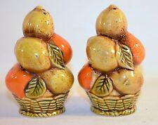 Vintage Salt & Ceramic Pepper Shakers Fruit Basket Design Made in Japan