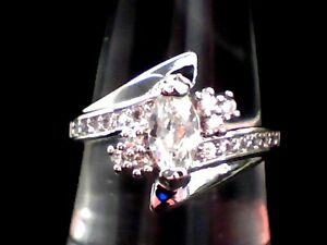 """""""BEAUTIFUL"""" White Topaz Dazzler Set into an 18Kt White Gold Filled Ring Size 8"""