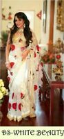 White Madhuri Saree Designer Net Sari Indian Embroidery Bollywood Lehenga Choli