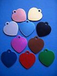 Aluminium Alloy Metal Heart Shape Cat Dog Id Pet Tags Disc 32mm Various Colours