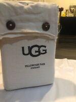 New Ugg Standard Pillowcase Pair. Shabby Chic 100% Linen Tan Beige Color