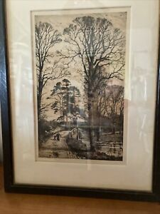 """Fred Slocombe Etching-""""Charlcote""""- FRAMED NICE 1880"""