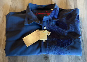 Bamboo Cay Floral Embroidered Mens XXL Navy Camp Aloha Shirt NWT