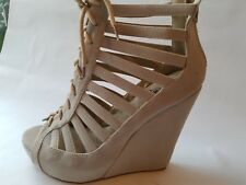 Womens Ladies Biege Peep-Toe Ankle Strappy Wedge High Heels Faux Suede Shoes