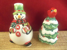 Fitz and Floyd Snowman Holiday Christmas Tree Salt and Pepper Shakers  C24