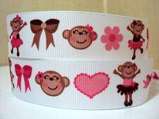 """1 metre x 1"""" PINK BALLERINA MONKEY FLOWER BOW HEART ON WHITE Grosgrain Ribbon"""