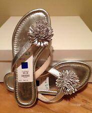 Elie Tahari Laurel Thong Silver Sandals Flip Flop Flower Sz 6.5 US -36.5 EU NEW