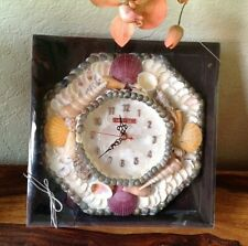 """10"""" Capiz Shell Clock with Specialty Shells~Philippines~Tested~Original Box"""