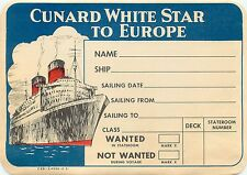 CUNARD WHITE STAR QUEEN ELIZABETH TO EUROPE OLD STEAMSHIP LUGGAGE LABEL