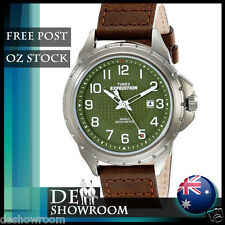"Timex Men's ""Expedition"" Brown Leather Watch, Indiglo, T49946  Free Expres Post"