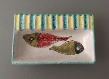 Vintage Italian Hand-painted Glazed Ceramic Abstract Fish Ashtray Trinket Dish