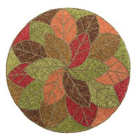 Pier 1 ~ NWT Round BEADED LEAVES Placemat Fall Autumn LEAF Orange Thanksgiving