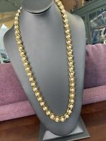 """Vintage Well Made Gold Caged Black Pearl Necklace Signed LR Lady Remington 20"""""""