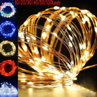 20/30/50 Micro LED String Battery Operated Silver Wire Fairy Lights Xmas Party @