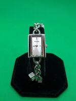 ladies sekonda silver tone dress watch silver dial,crystal set t bar bracelet#90