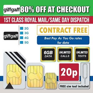 Giffgaff Sim Card Pay As You Go-6GB Data Unlimited Minutes & Txts For £10 Top Up