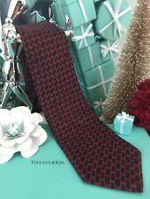 Tiffany & Co Silk Neck Tie Navy Blue Red Geometric Men's Italy INCL TIFFANY BOX!